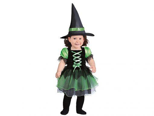 Disfraz de brujita verde para bebé