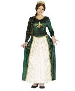 Disfraz de Reina Medieval Verde para mujer