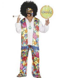 Disfraz hippie arco iris hombre