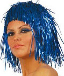 Peluca metalizada azul