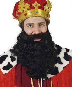 Barba negra pelo rizado