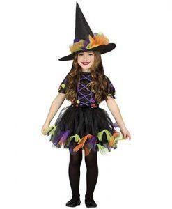 Disfraz de bruja de colores niña