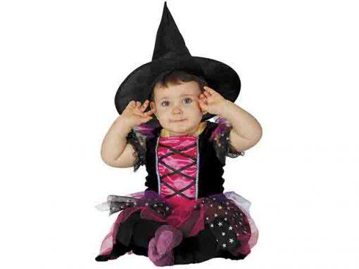Disfraz de bruja rosa bebé