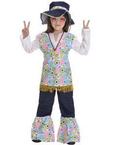 Disfraz Hippie Power niña