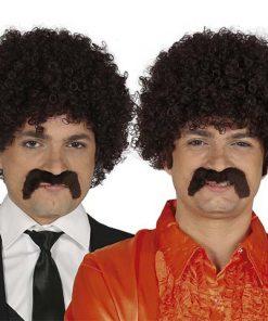 Peluca Rizos Castaña con bigote