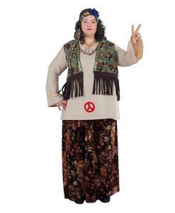 Disfraz de Hippie XL con chaleco para mujer