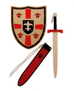 Set medieval de madera con funda