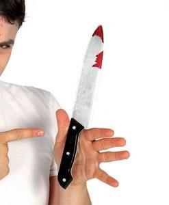 Cuchillo con sangre de plástico